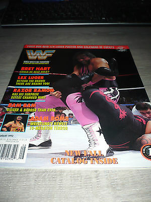 WWE WWF MAGAZINE official 8/93 Bret Hart VERY RARE Razor Adam Bigelow  used