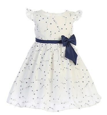 Off-white Navy Blue Flower Girls Cotton Dress Easter Wedding Party Baby Kids New