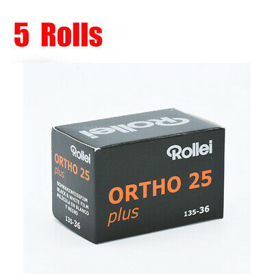 5 Rolls Rollei Ortho25 plus 35mm 135-36EXP Black&White Film Fresh 04/2021
