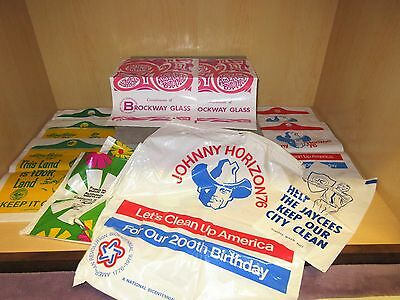 Vintage Lot X 12 Auto Car Plastic Litter Trash Bags Johnny Horizon Bicentennial