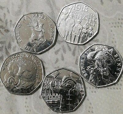 50p JOBLOT of 5x Fifty Pence Rare Coins commemorative Circulated Various designs