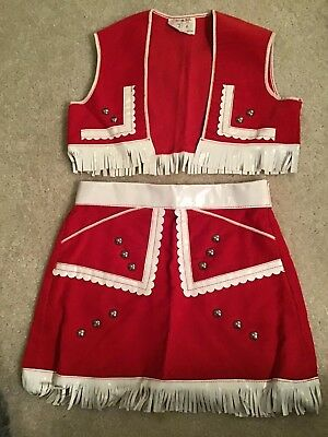 VIntage 1950's Red Corduroy Lasso-bills  Cowgirl skirt And Vest  Washable
