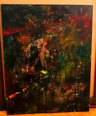 Vintage Abstract non-subject Painting artist signed Expressionism Modernism  -
