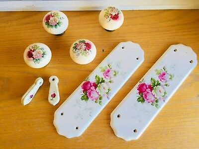 Porcelain door fittings knobs keyholes pushplates French Country