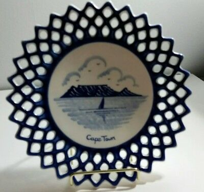 "Llysbeek Studio Cape Town South Africa 9"" Reticulated  Cobalt Blue Plate"