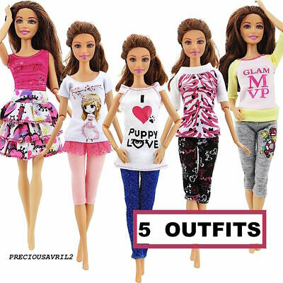 New Barbie doll clothes 5 casual outfits dress skirt top pants clothing.