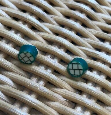 """Pair of Vintage Tiny Bakelite or Celluloid Green+Cream Buttons Brick Pattern1/4"""""""