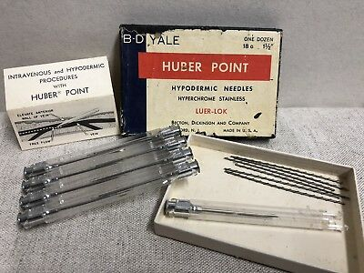 """9 BD Yale 18G 1½"""" Hypodermic Needles Luer-Lok Hube Point Reusable Stainless"""