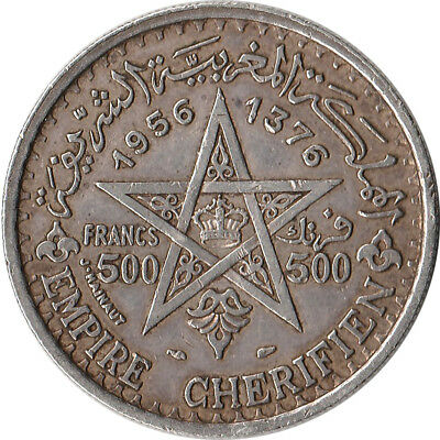 1956 (AH1376) Morocco (French) 500 Francs Large Silver Coin Y#54 One Year Type