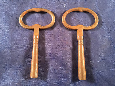 Vintage Antique Clock Key Cast Iron Lot of 2 BOTH Shown Included