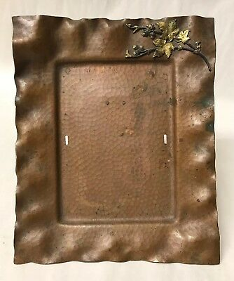 Antique Arts Crafts Hammered Copper Mixed Metal Picture or Mirror Frame