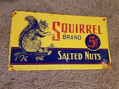 Squirrel Brand Salted Nuts Embossed Tin Sign Peanuts Confections General Store