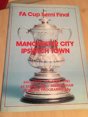 Manchester City v Ipswich Town FA Cup Semi-Final Football Programme 1980-1981