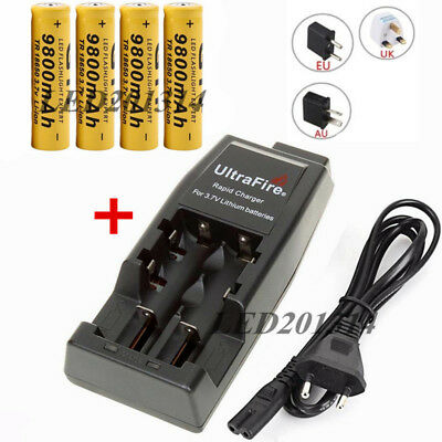 GTF 18650 3.7V 9800mAh Rechargeable Li-ion Batteries + UltraFire WF-139 Charger