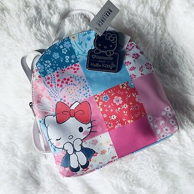 286893648 LOUNGEFLY HELLO KITTY Patchwork Satchel Bag Purse Backpack School ...