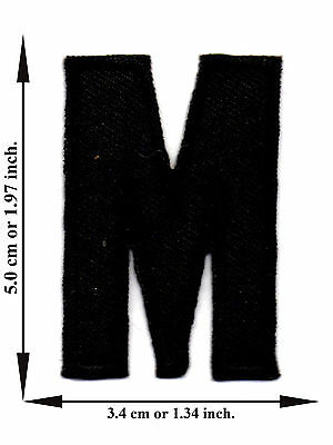 Alphabet M Black Color English Letter Applique Iron on Patch Sew For T-shirt