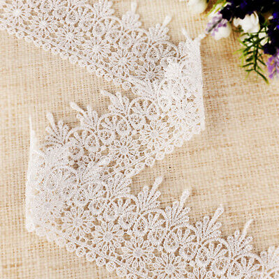 10 yards 9,14m Dentelle blanc polyester couture décoration #453