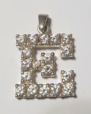 """Large Sterling Silver CZ Initial  Letter """"E"""" Pendant Charm - Solid .925 Silver"""