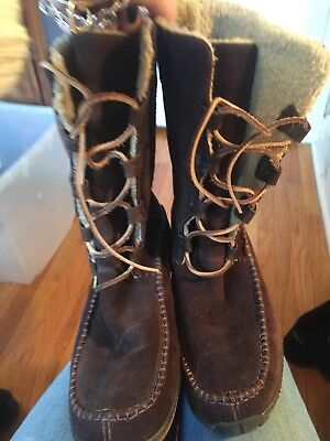Women's Timberland Brown Suede Leather Lace Up  Boots 8