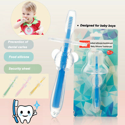 Baby Teether Training Silicone Bendable Newborn Infant Toothbrush Soft Care New