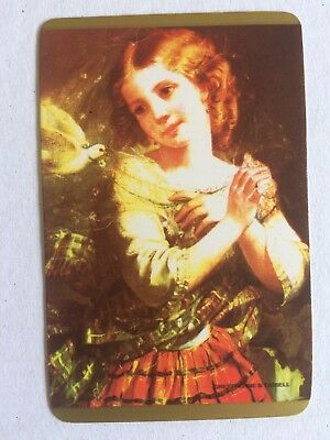 Vintage Swap / Playing Card - Girl with White Dove - Art - Blank Back