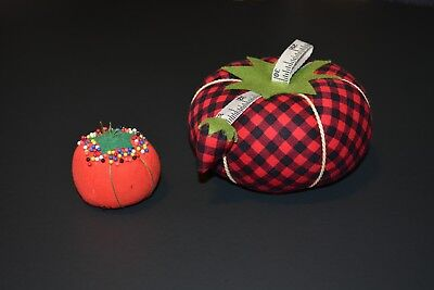 Dritz Collectible Pin Cushion Xxlg Red & Black Plaid Tomato With Sharpener