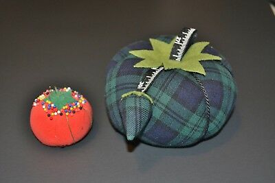 Dritz Collectible Pin Cushion Xxlg Blue/Green Plaid Tomato W/Sharpener