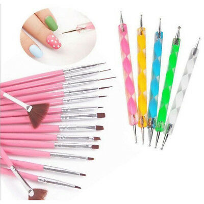 20pcs/set Nail Art Set Dotting Pen Painting Drawing Polish Brush Nail Art Tools