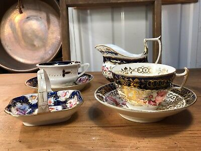 Collection of Antique 19th Century English Chinoiserie Tea Cups Jug Plate