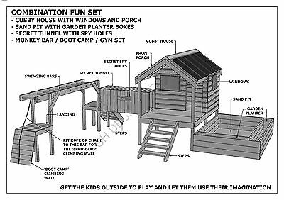 CUBBY PLAY HOUSE / SAND PIT / TUNNEL / PLAY GYM / COMBO - Building Plans V1