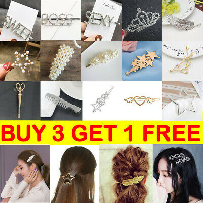 Women Girls Clips Crystal Gold Silver Pearl Letter Hairpin Hair Clip Hair Access