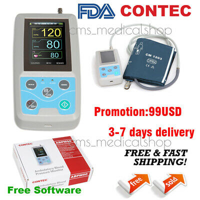 CONTEC ABPM50 Ambulatory Blood Pressure Monitor NIBP Holter 24h Record Software