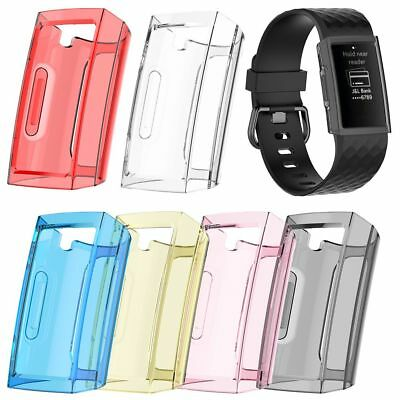 For Fitbit Charge 3 Silicone TPU Clear Full Case Screen Protector Frame Cover