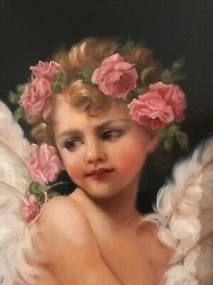 Barnes Beautiful Oil Painting Vintage Antique Style Portrait Cherub Angel Girl