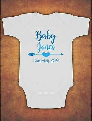 Pregnancy Baby Announcement Personalised Name Baby Kids  Body Suit Vest Blue