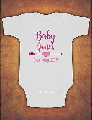 Pregnancy Baby Announcement Personalised Name Baby Kids  Body Suit Vest Pink