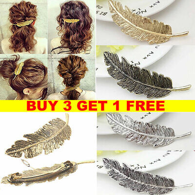 Leaf Feather Hair Pin Jewelry Women Vintage Hair Clip Barrette Bobby Pins Gold