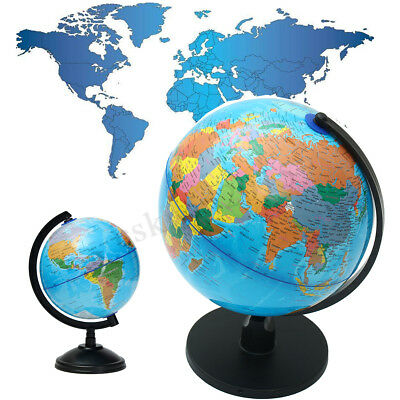 Rotating Earth Globe World Map + Swivel Stand Geography Educational Toy 8.5-32cm