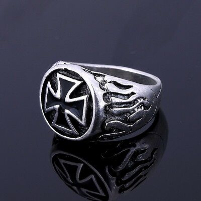 Knights Templar Iron Cross Crusader Ring Medieval Style Masonic Freemason Ring