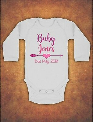 Pregnancy Baby Announcement Personalised  Kids Body Suit Vest Longsleeve Pink