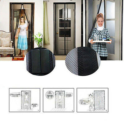 100*210cm Mesh Net Screen Door Magnetic Anti Mosquito Bugs Insect Curtain Black