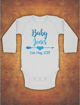 Pregnancy Baby Announcement Personalised  Kids Body Suit Vest Longsleeve Blue