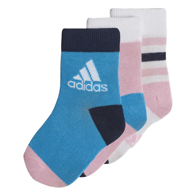 Adidas Kids Girl Socks Athletic Ankle 3 Pairs Sports Infants Fashion New DW4755