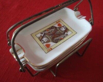 1950's VINTAGE SET of 4 PLAYING CARD DESIGN MINI ASH TRAYS IN WIRE CADDY-VGC