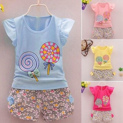 2PCS Toddler Kids Baby Girls Outfits Lolly T-shirt Tops+Short Pants Shorts Set