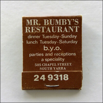 Mr Bumby's Restaurant 505 Chapel St South Yarra 249318 Matchbook (MK47)