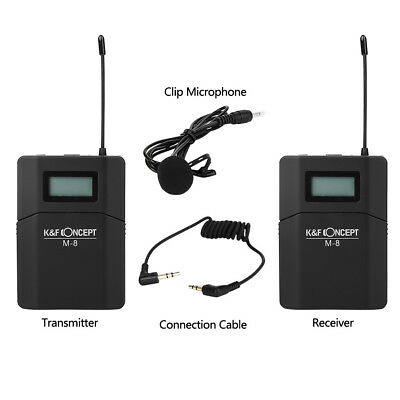 K&F CONCEPT M-8 Wireless Clip Microphone Transmitter Receiver Set for DSLR Cam