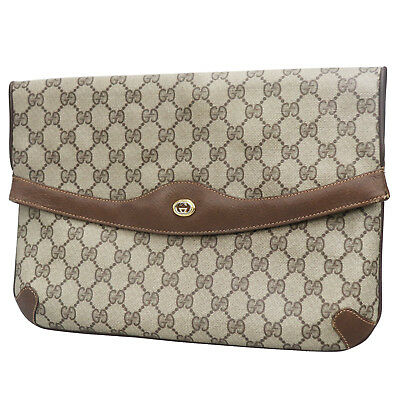 Gucci Gg Grande Original Sac à Main Pochette Marron PVC Toile Authentique   S796 8684c92013d