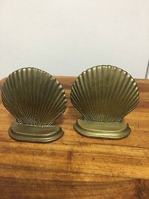 Vintage Shell Book Ends Brass