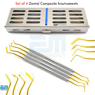 4X Dental Composite Gold Tip Restorative Placements Instruments With Cassette